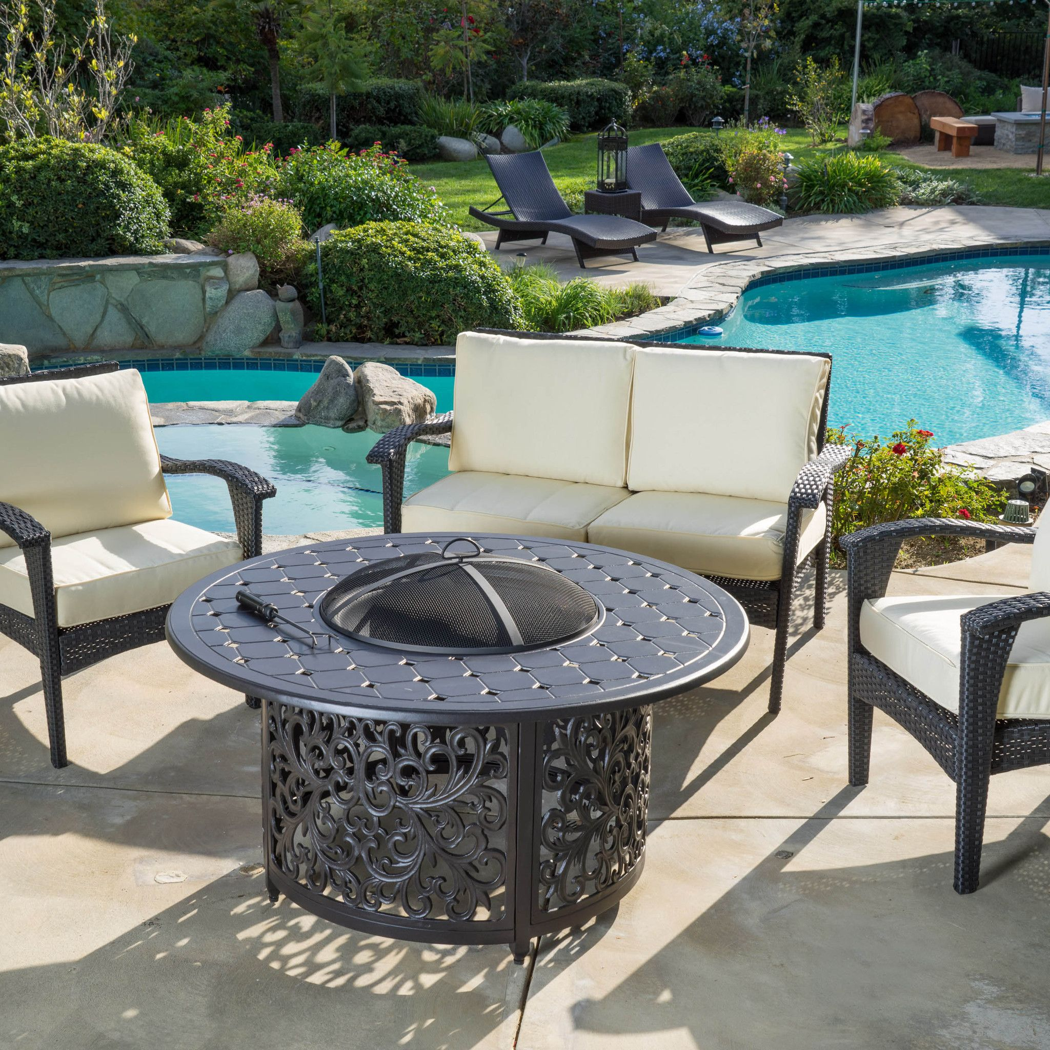 Gonzalo Outdoor Elegant Charcoal Grey Ceramic Fire Pit ... on For Living Lawrence Fire Pit id=80510