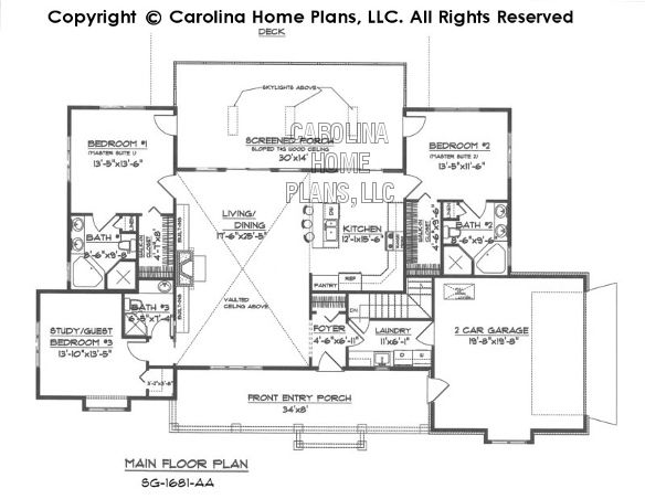 Small country ranch style house plan sg 1681 sq ft for Ranch house plans 1700 square feet