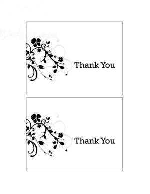 Free Thank U Templates  New Life Stationery Black Thank You Cards