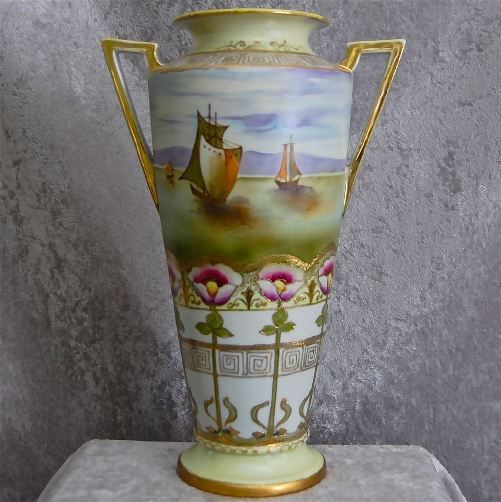 Imperial nippon 14 handpainted vase wseascape circa 1910 reviewsmspy