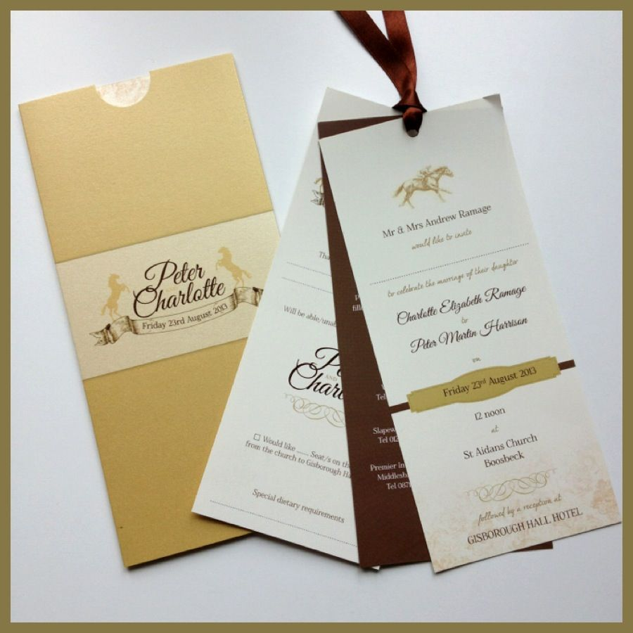 Horse racing themed wedding invitations. Jill@hopeyoucanmakeit.co.uk ...