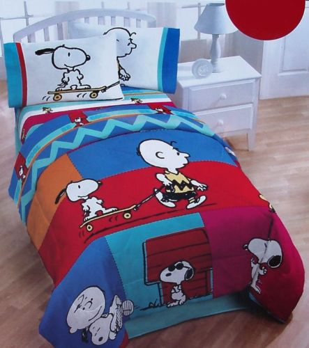 Peanuts Snoopy Twin Full Comforter Charlie Brown Blue Red New Unspecified