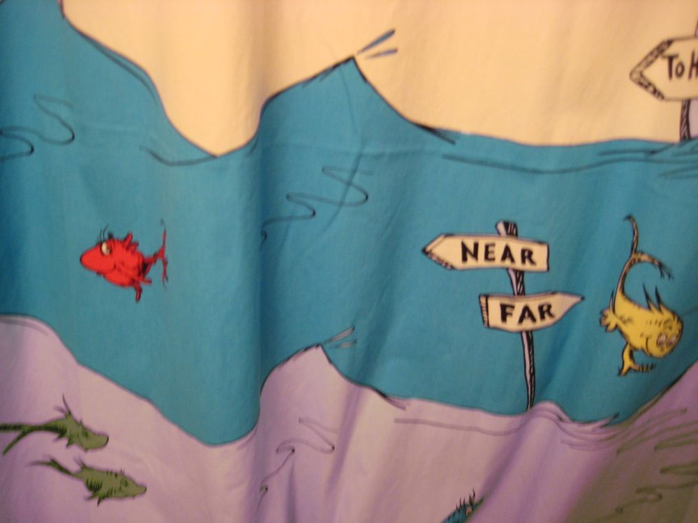 Dr Seuss Shower Curtain One Fish Two Fish Cat Hat Kids Bathroom