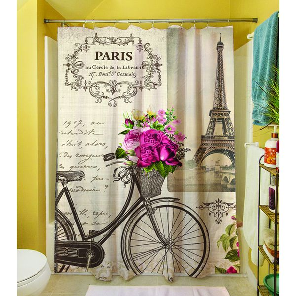 Thumbprintz Springtime in Paris Bicycle Shower Curtain - Overstock ...