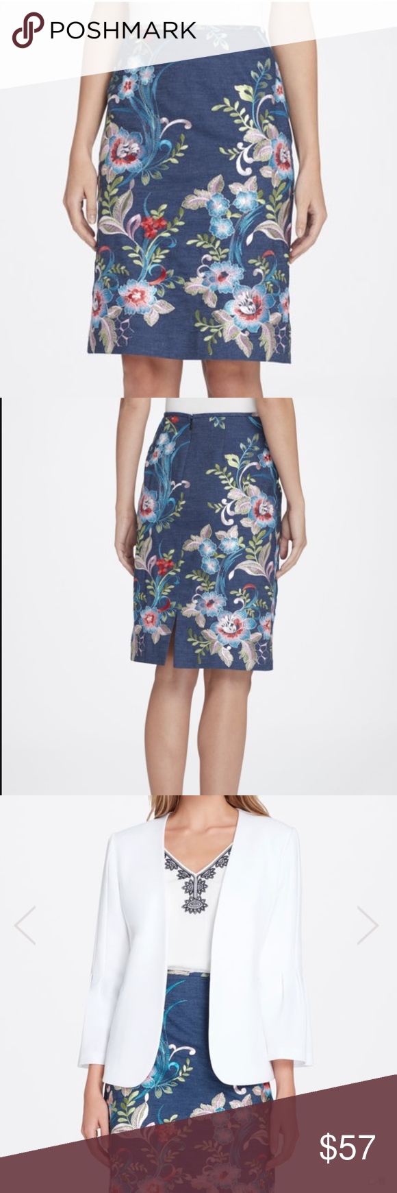 d26362095ba7 Tahari ASL Embroidered Pencil Skirt Exotic embroidered floral vines dress up