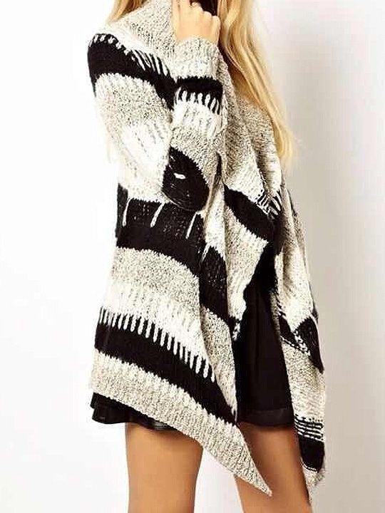 Black And White Sweater Coat - Black Coat