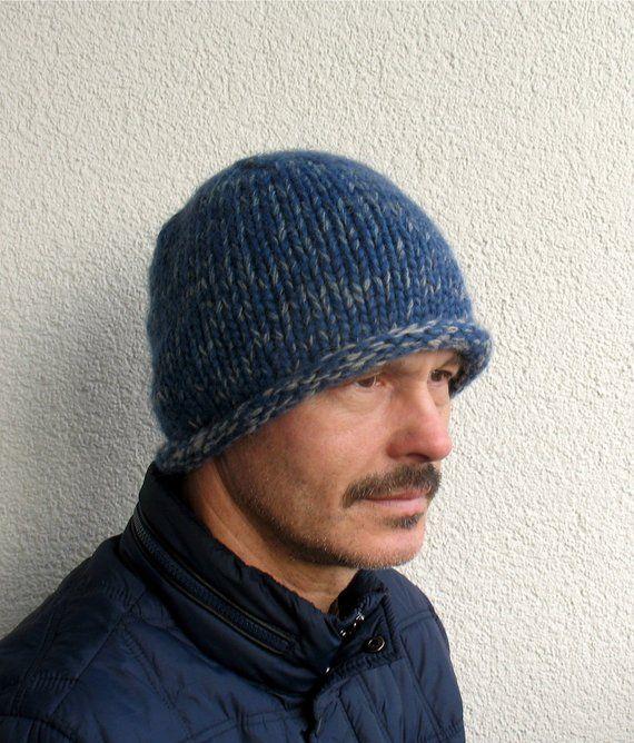 Mens winter hat 100% natural icelandic wool ECO blue hat Mens handmade pure wool  cap Mens knitted blue hat Winter mens Roll Brim hat warm de6481b5606