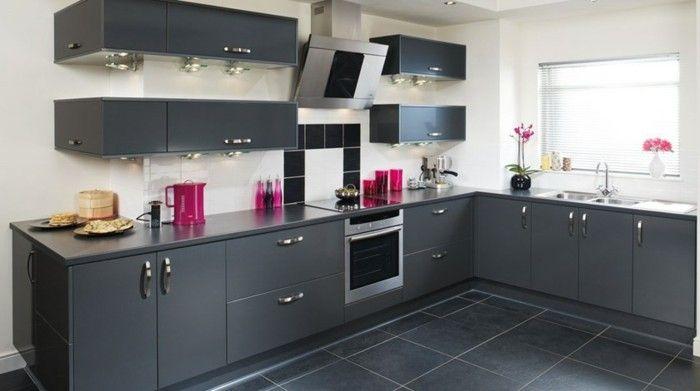 cuisine-gris-anthracite-très-moderne-meuble-cuisine-peinture-murale ...
