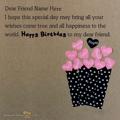 Write Name On Friends Birthday Card