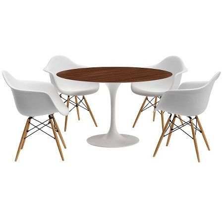 White Round Modern Dining Table catalina modern round dining table - walnut, white | round dining