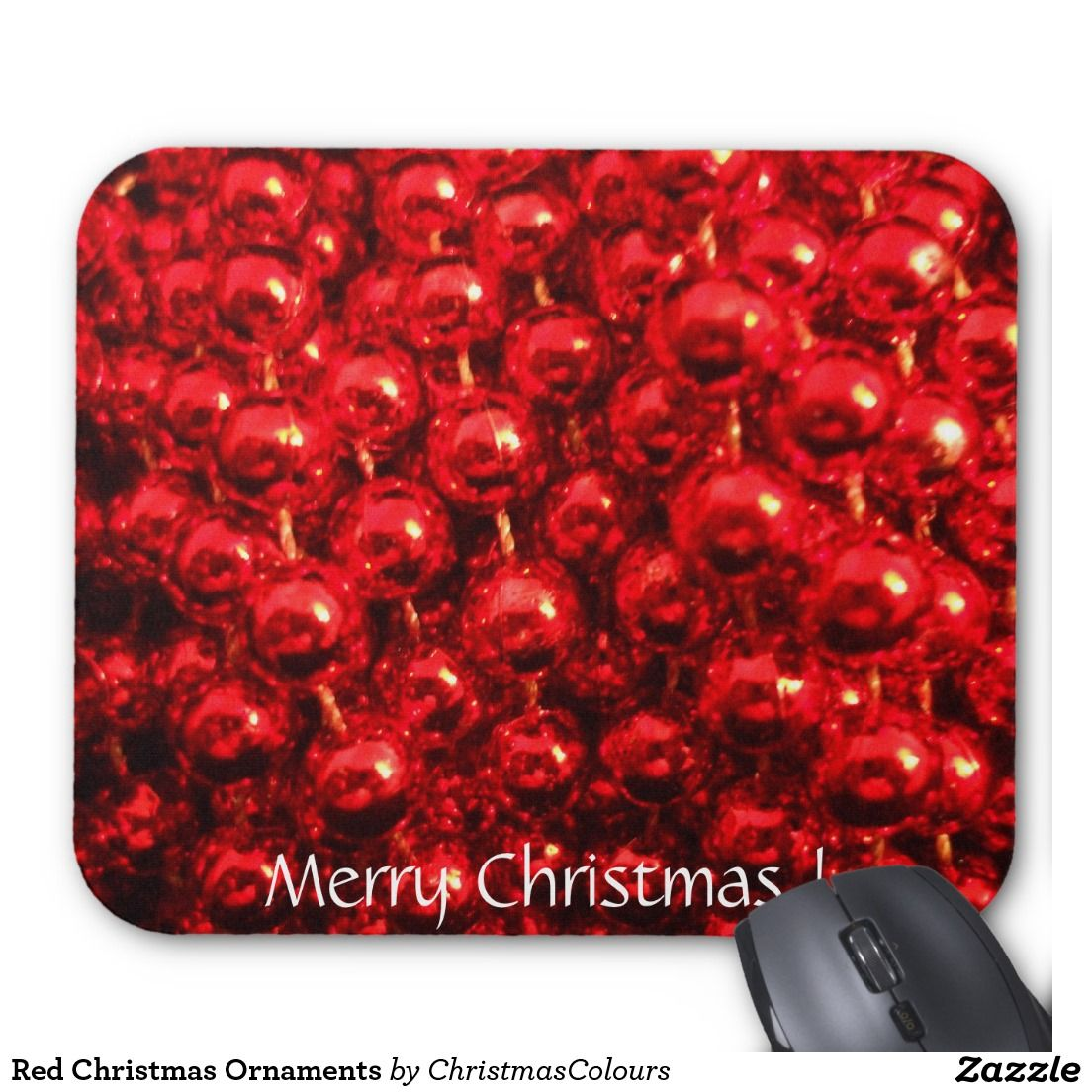 Red Christmas Ornaments Mouse Pad