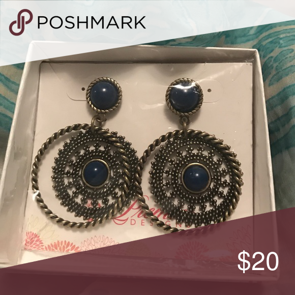 Indigo earrings Rich blue with antique finish Premier Designs Jewelry Earrings