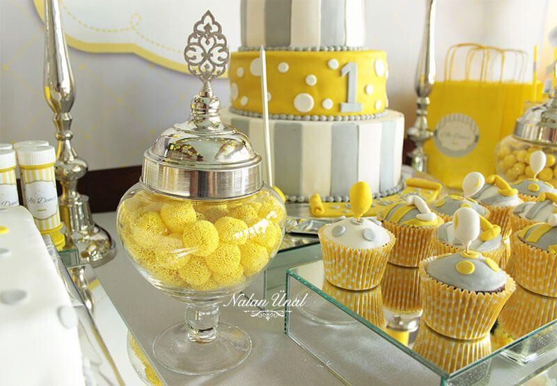 Sarı Gri Doğum Günü Konsepti Organizasyonu #doğumgünüpartileri