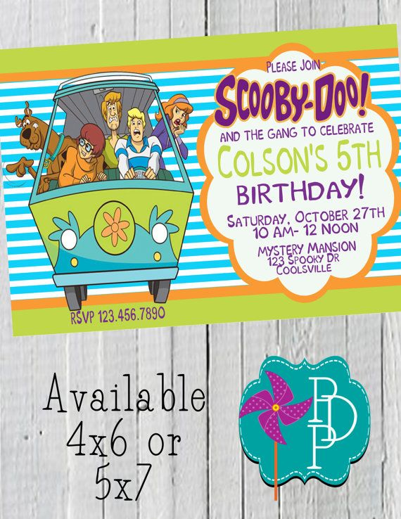 Scooby Doo Boy Blue Stripe Birthday invitation by PolkaDotPinwheel