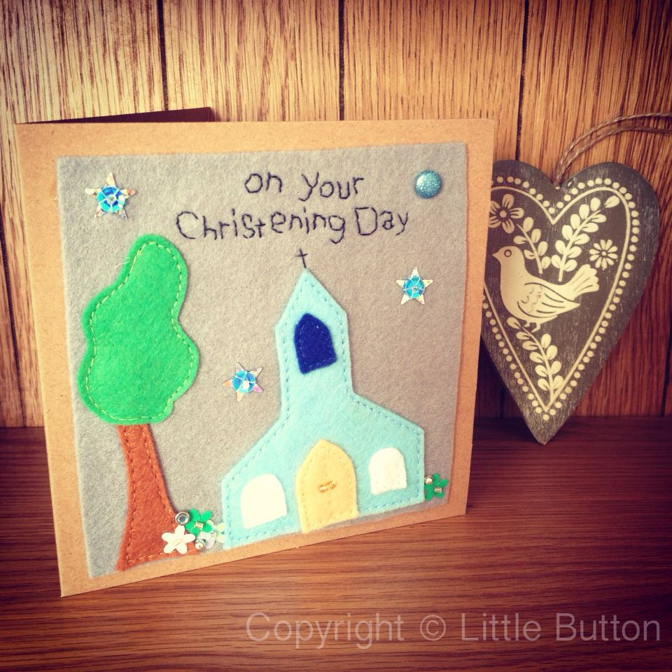 13.5cm square hand sewn felt Christening Card. Made to order. Name and/or date can be added.