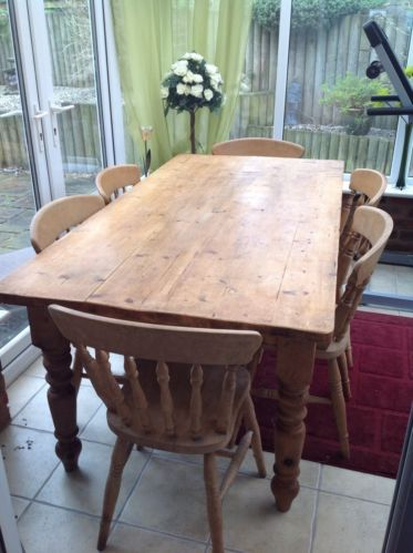 Solid pine rustic farmhouse table and 6 chairs ebay kitchen solid pine rustic farmhouse table and 6 chairs ebay workwithnaturefo