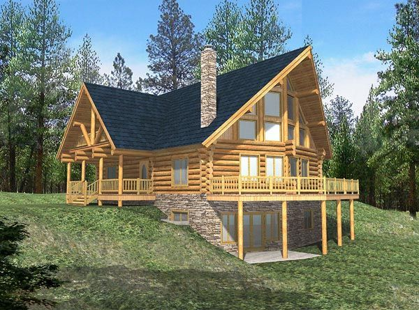 Log Style House Plan 87003 With 6 Bed 3 Bath Log Cabin House Plans Log Cabin Floor Plans Basement House Plans