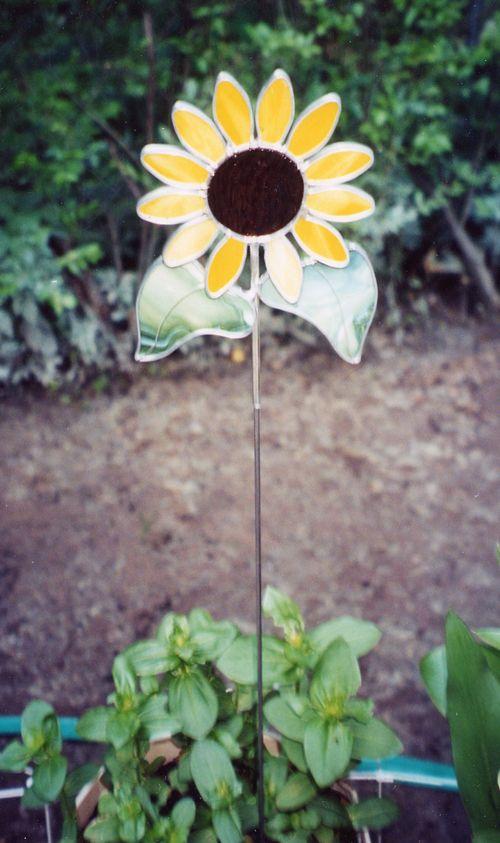 Beau Sunflower Garden Stake Glass By Pat: Stained Glass Garden Art