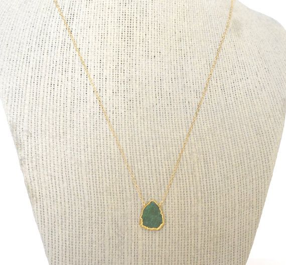 Emerald Necklace May Birthstone Gold Filled by ShopGreyweather