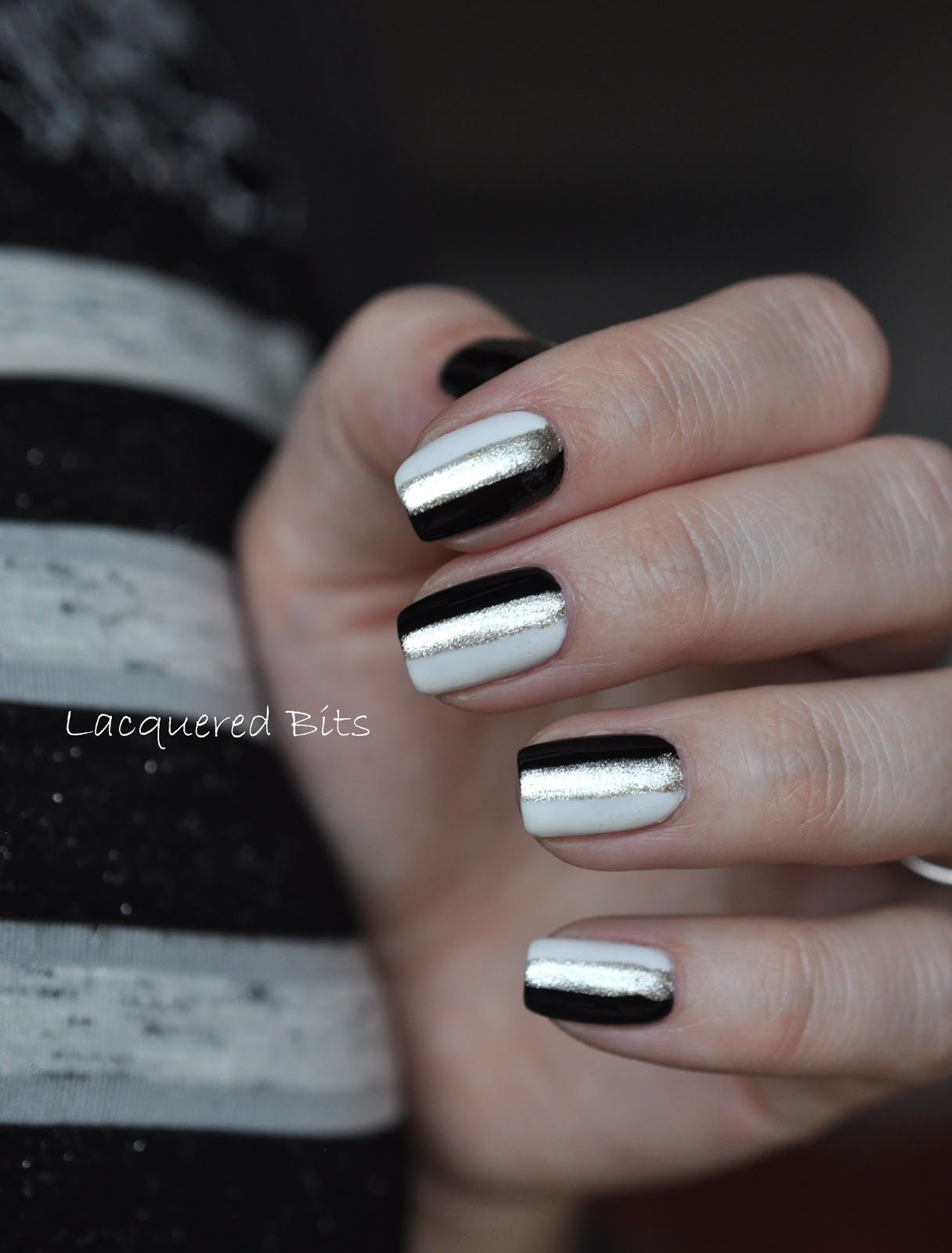 Black and white and striped all over. Use essie \'blanc\' and ...