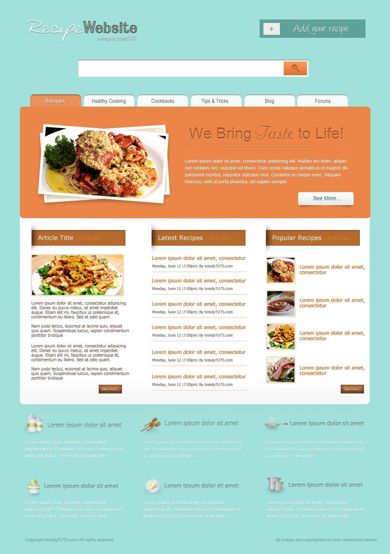 How To Create A Nice Recipe Psd Template Website Tutorials