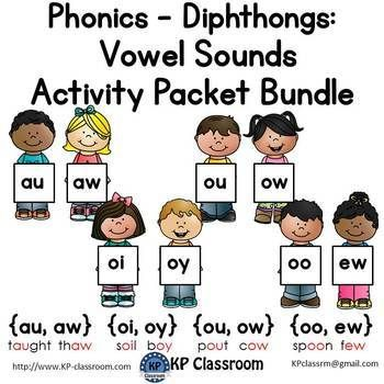 Diphthongs Au Aw Oi Oy Ou Ow Oo Ew Vowel Sounds Activity Packet Bundle Vowel Sounds Activities Sight Word Flashcards Diphthongs Oi oy worksheet