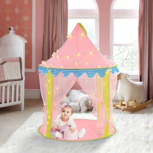 Kids Play Tent Ejoyous Princess Castle Play Tent for Girls Indoor and Outdoor Pink Play House Foldable with Led Star Lights 40inx 55in u003eu003eu003e Click imu2026 & Kids Play Tent Ejoyous Princess Castle Play Tent for Girls Indoor ...