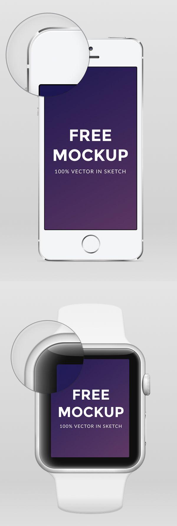 Free Apple Watch iPhone 6 & iPhone 5 .sketch Mockup #freebies #freepsdfiles #freepsdmockups #psdtemplates #businesscards