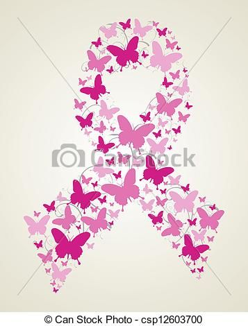 breast cancer awareness drawings | Pink butterflies in breast ...