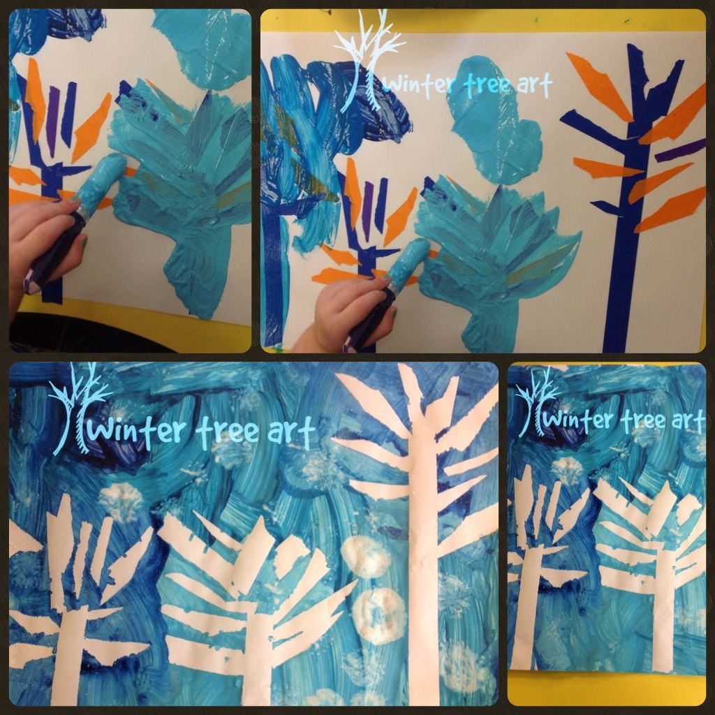 Preschool Winter Tree Art Use Masking Tape And Make Trees Use Various Shades Of Blue And White And Paint Peel O Tree Art Classroom Crafts Winter Preschool
