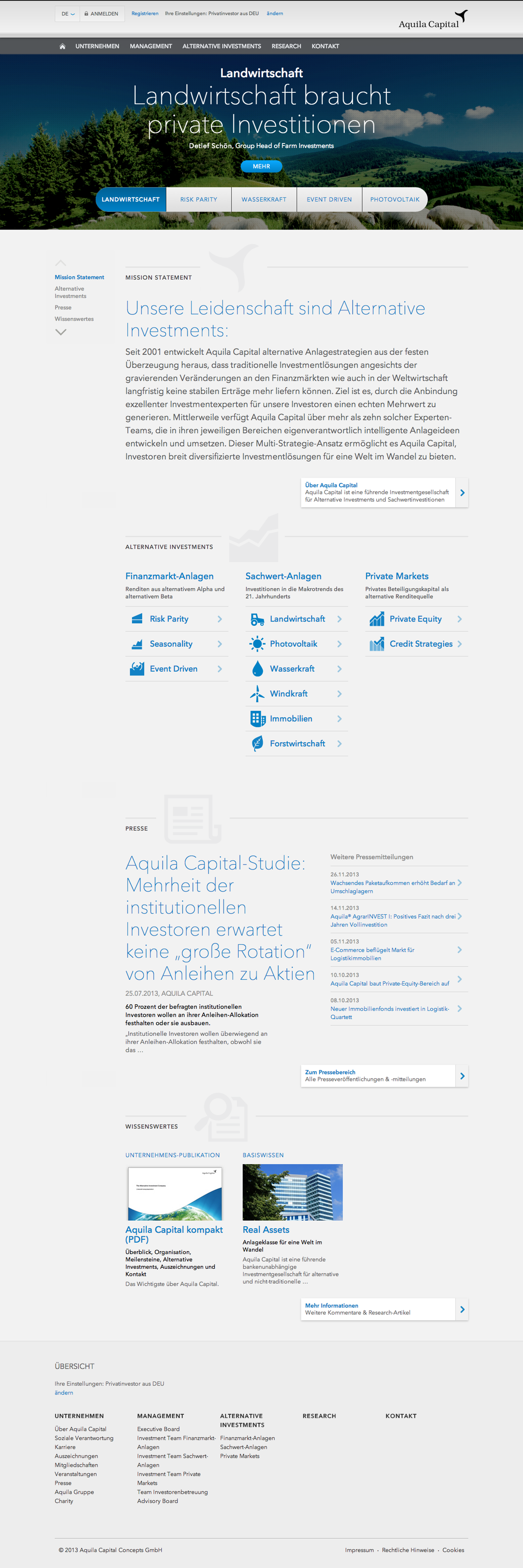 Relaunch Aquila Capital Website On Behance Website Capitals Behance