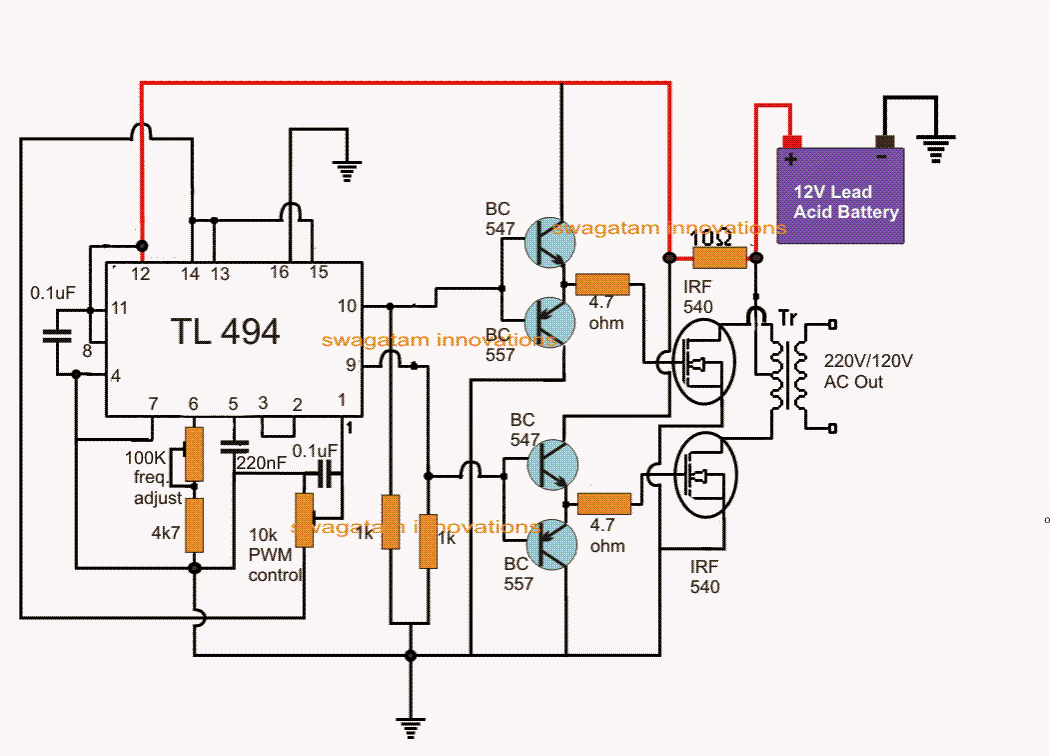 Pwm Modified Sine Wave Inverter Circuit Using Ic Tl494 555 How To Build A Homemade Power 100 Watt