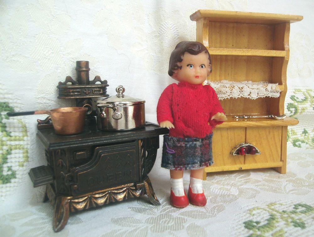 Puppenstube Miniatur Queen Herd Ofen Metall Töpfe Ari Puppe - küchenregal mit beleuchtung
