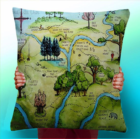 Winnie the pooh 100 acre wood map cushion pillow cover panel winnie the pooh 100 acre wood map cushion pillow cover panel fabric gumiabroncs Choice Image