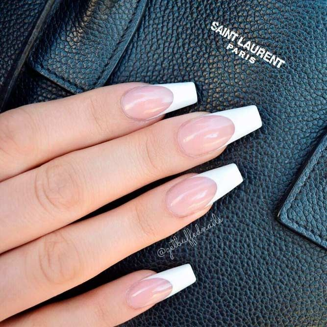 The Most Stylish Ideas For White Coffin Nails Design French Tip Acrylic Nails White Coffin Nails French Acrylic Nails