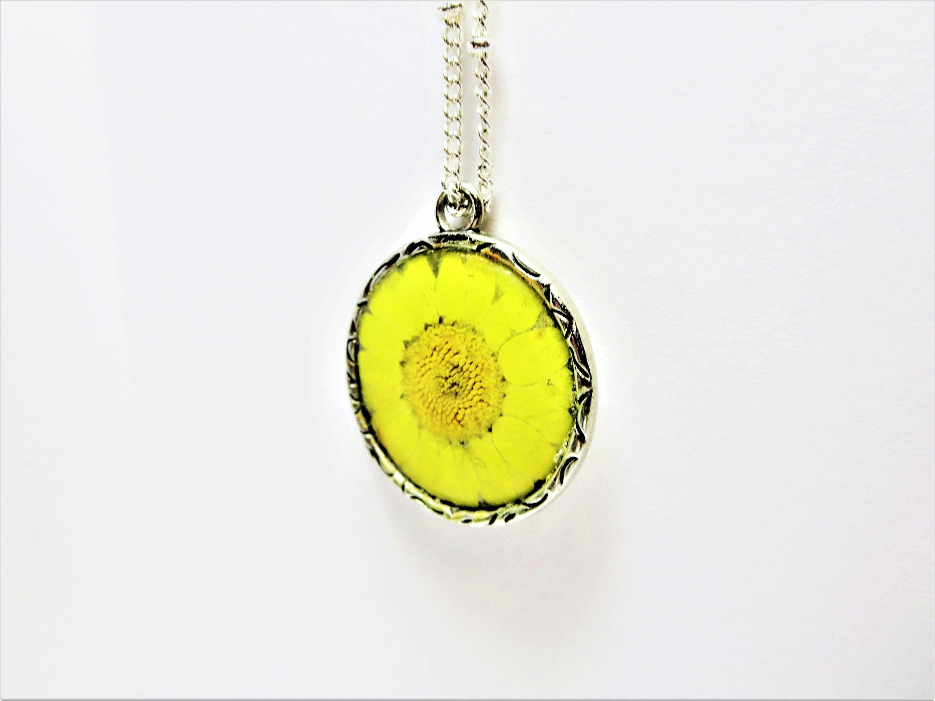 Yellow dry flower Necklace