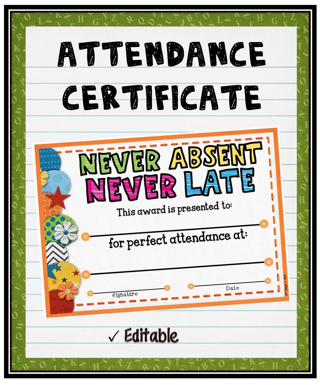 Attendance Certificate 2 Words Of Encouragement