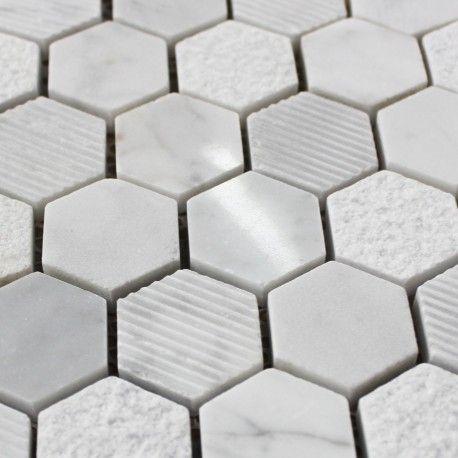 Mosaique Sol Et Mur Marbre Poli Carrare Hexagone Marbre Carrare