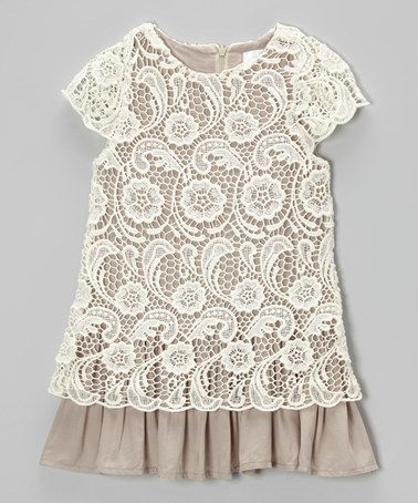 Ivory & Mocha Lace Dress by Blossom Couture Occasion on #zulilyUK today!
