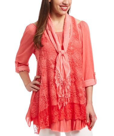 Look what I found on #zulily! Coral Crochet & Lace Layered Tunic & Scarf by LOLA #zulilyfinds