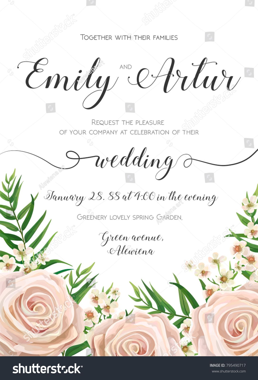 Wedding Invitation Floral Invite Card Design With Creamy White Garden Rose Flowers Wax Flower