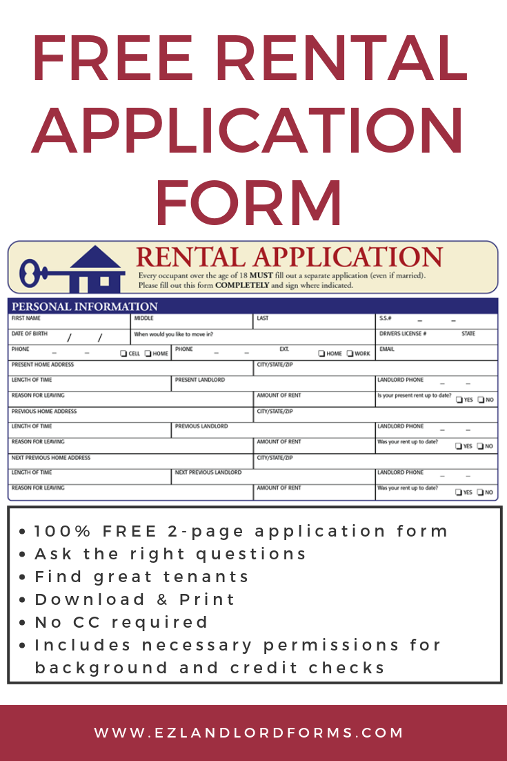 Free Rental Application Form Rental Application Being A Landlord Application Form