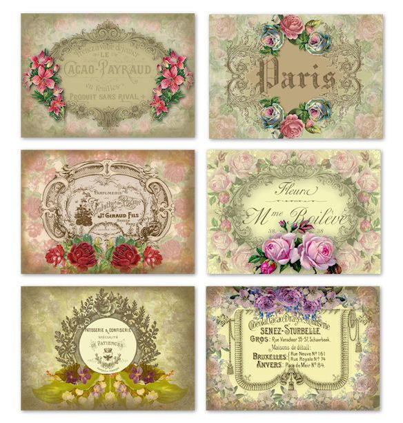 Shabby Chic Printable French Labels/Tags/Stickers door GrannyGator