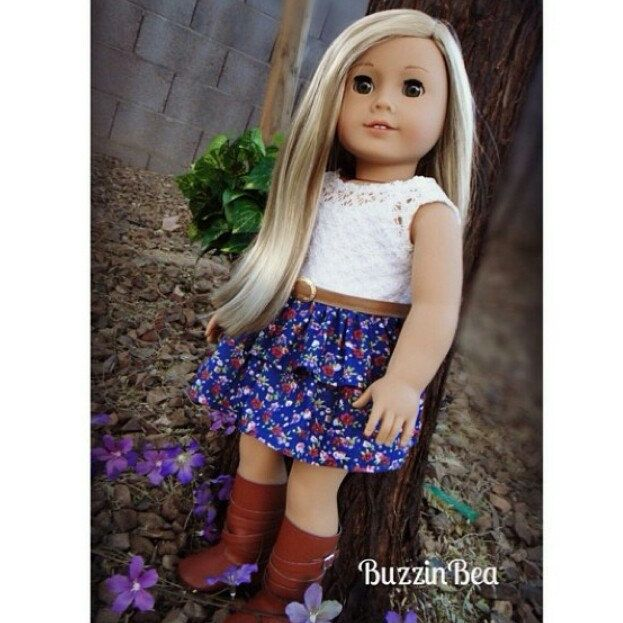 Isabelle looks so pretty in this lace and floral dress, get this look for your doll as this is available in my shop again.