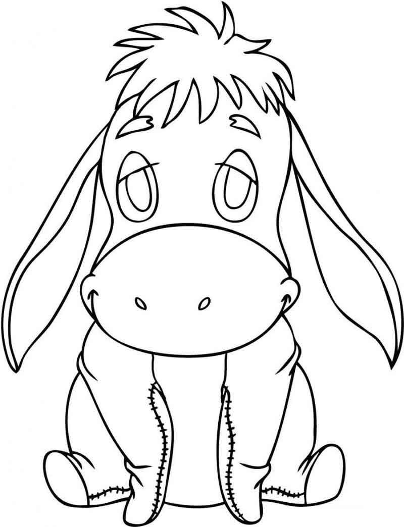Eeyore Coloring Pages For Kids 1 Baby Disney Characters Drawing Cartoon Characters Cartoon Drawings