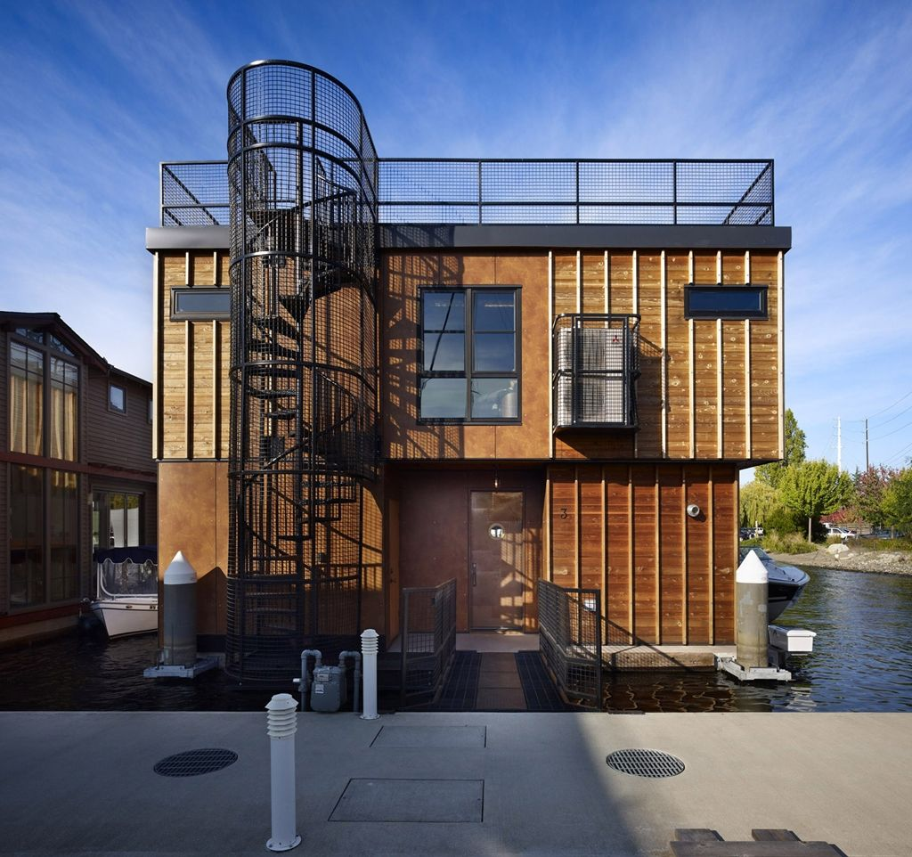 amazing home: floating homes; lake union float home, seattle, usa