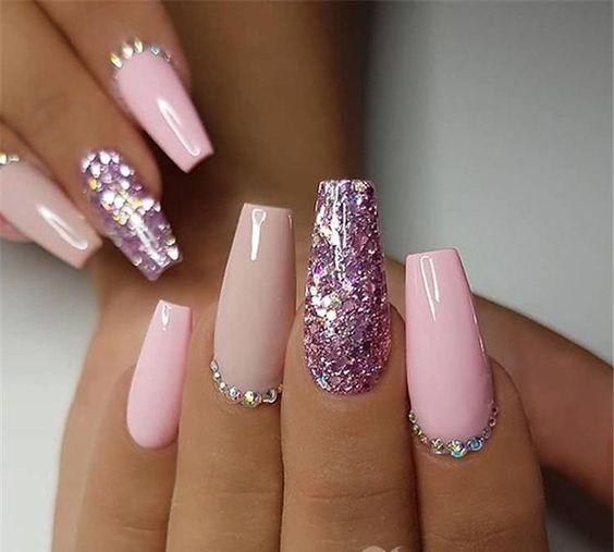 Pink Purple Glitter Diamond Nails 30 Beautiful Diamond Nail Art Designs Diamond Nails Inspirati Ballerina Nails Designs Ombre Acrylic Nails Ballerina Nails