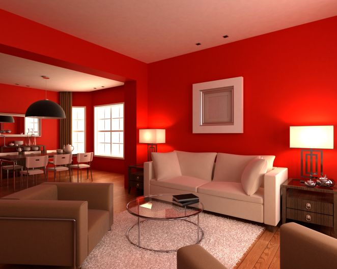 Living Room With Red Walls White And Brown Furniture Rug Gl Coffee Table Chairs