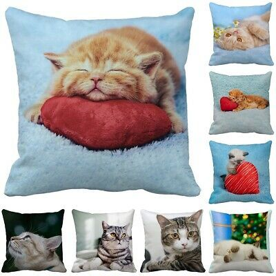 18'' Animal Pillow Case Cute Cat Print Pillow Living Room Sofa Car Cushion Cover...