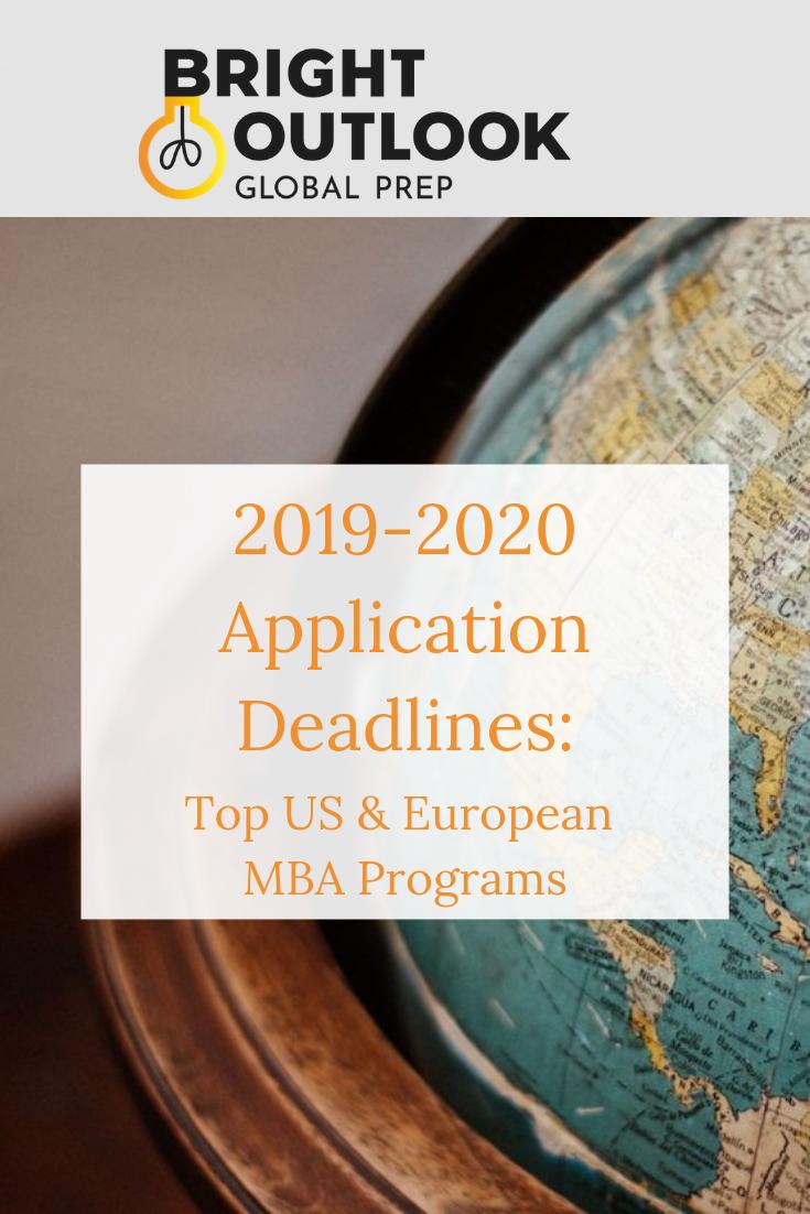 2019 2020 Application Deadlines Top Us European Mba Programs